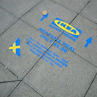 Deliver full colour floor media to help Ikea Southampton promote new store  Place adverts all around city and match IKEA's strict pantone colours  Encourage redemption of voucher and purchase of meals instore by presenting photograph of ad.