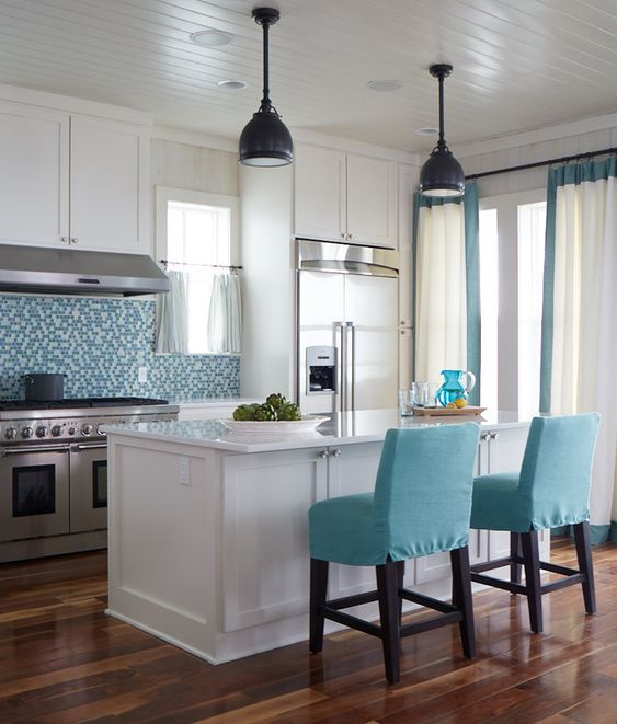 Interior Design For Kitchen Tiles: Turquoise, The Floor And Islands On Pinterest