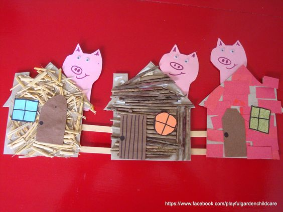 The three little pigs collage for fine motor, language and sensory experience. See more @ fb/firstdoortraining and www.firstdoor.com.au