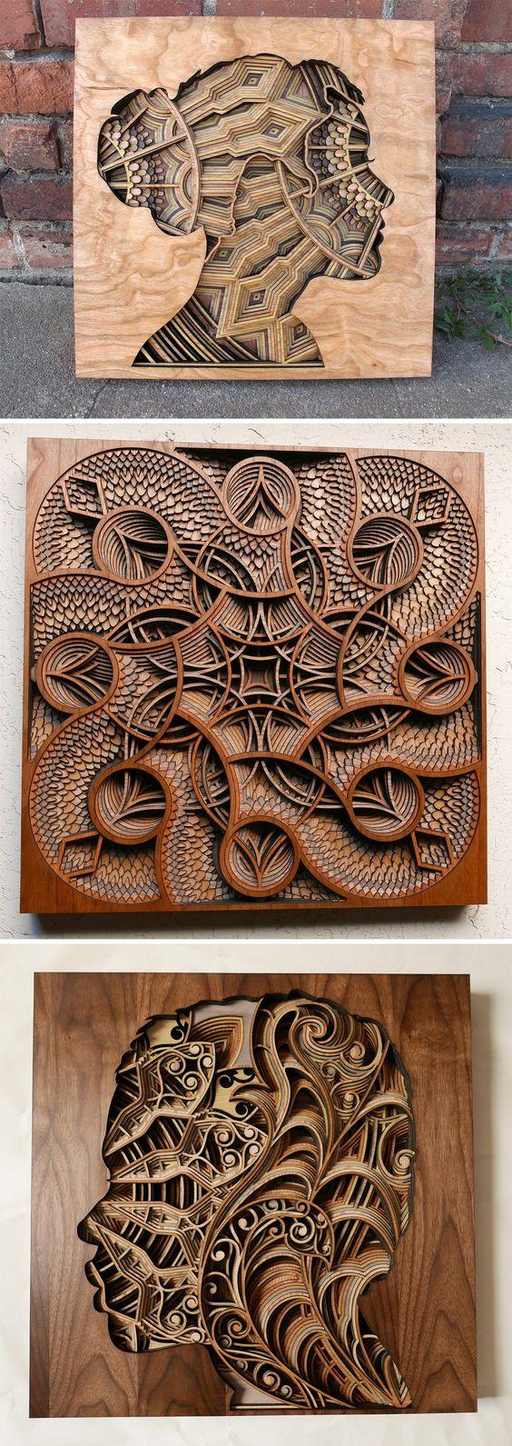 New Laser-Cut Wood Relief Sculptures by Gabriel Schama: