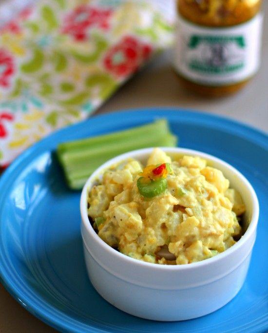 Mustard Potato Salad with Tomato Relish: Food Recipes, Recipes Food, Mustard Potato Salads, Tangy Kick, Potato Recipes, Drinks Desserts, Food Drinks