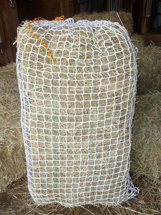 Slow feed hay bag net style hang up or toss by for Mesh feeder ideas