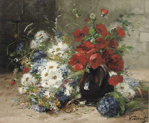 "EUGÈNE HENRI CAUCHOIS (1850 - 1911) ""A summer-bouquet with poppies and daisies"" by sofi01, via Flickr"