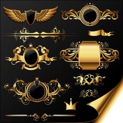 golden heraldic and decor elements vector