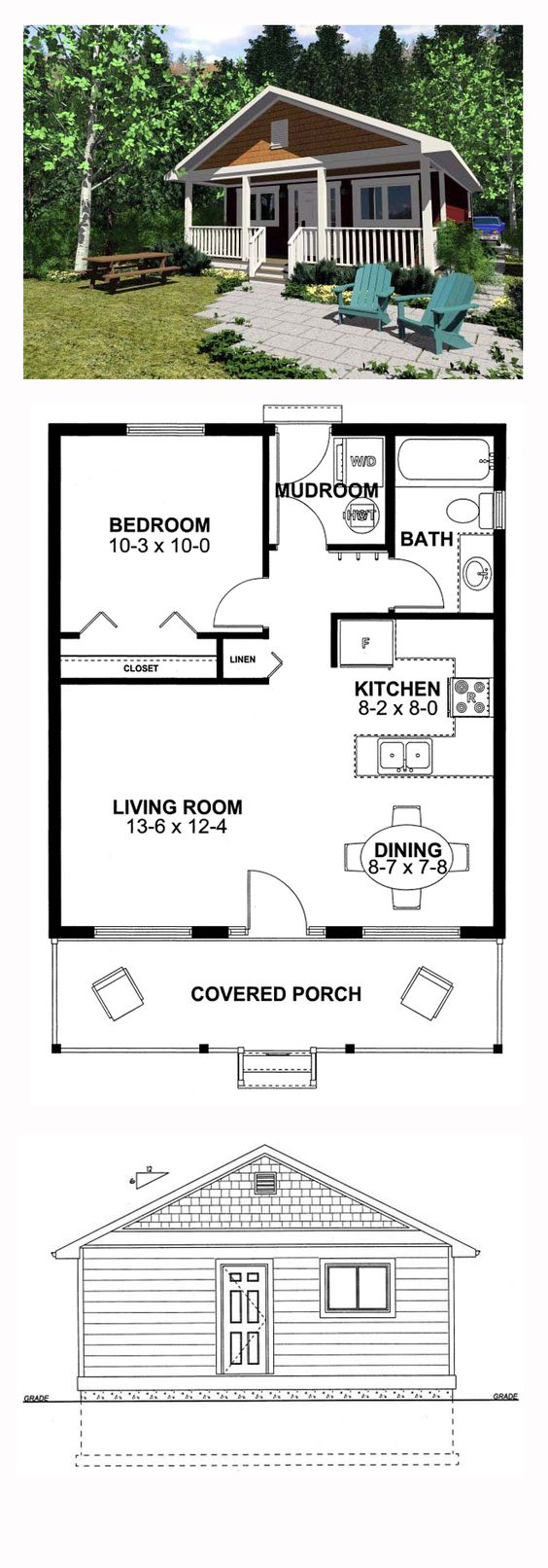 Narrow Lot House Plan 99971 | Total Living Area: 598 sq. ft., 1 bedroom & 1 bathroom. This little cabin is just perfect for kicking back and enjoying your relaxation time, either indoors or on the front porch. #narrowlot