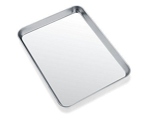Toaster Oven Tray Pan Zacfton Baking Sheet Stainless Steel Cookie Sheet Rectangle Size 10 X 8 X 1 I Stainless Steel Cookie Sheet Easy Cleaning Toaster Oven