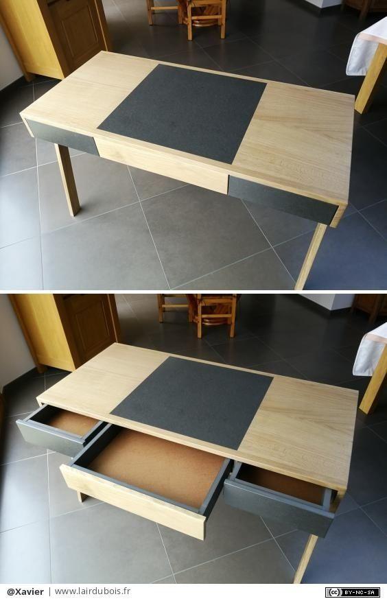 Bureau Moderne Chene Et Valchromat Par Xavier Avec Images Bureau Mobilier De Salon Bureau Moderne