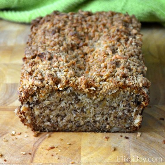 Mom's Banana Bread with Macadamia Nuts and Coconut Streusel is moist, rich and has great flavor