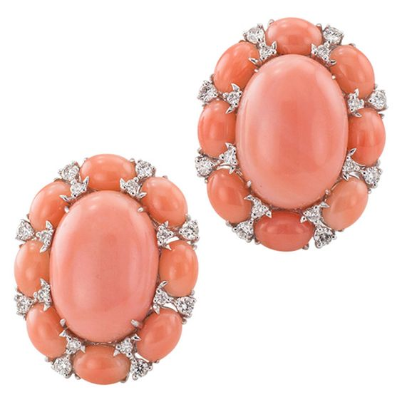 Coral Cabochon Diamond Earrings | From a unique collection of vintage clip-on earrings at https://www.1stdibs.com/jewelry/earrings/clip-on-earrings/