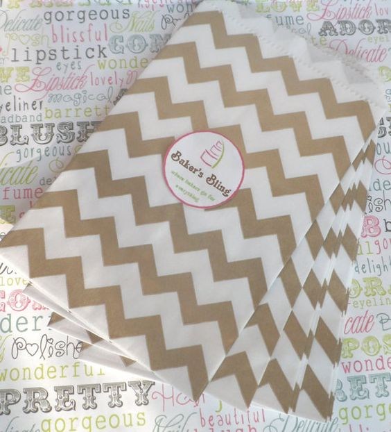 50 Gold Chevron Party Bags Gold Chevron Wedding by BakersBlingShop, $7.00    i love these and they have all colors