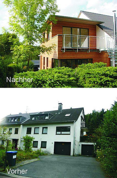 Anbau mit Flachdach und Holzverschalung aus Lärchentrapezleisten ...