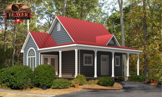 There's just something so awesome about a red tin roof on a cottage :)