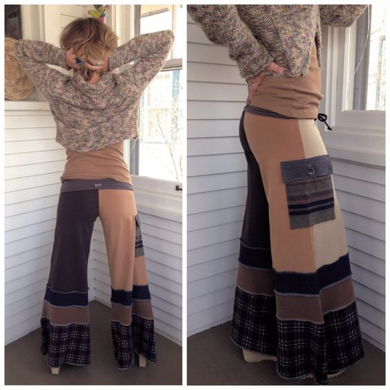 Eco Gaucho PANTS, S/M, pockets, upcycled clothing, yoga, festival ...