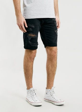 Black Ripped Denim Shorts | Shorts, Products and Black