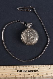 MADE BY MAXI ANTI MAGNETIC POCKET WATCH WITH A WATCH FOB. IT'S MADE TO LOOK OLD.