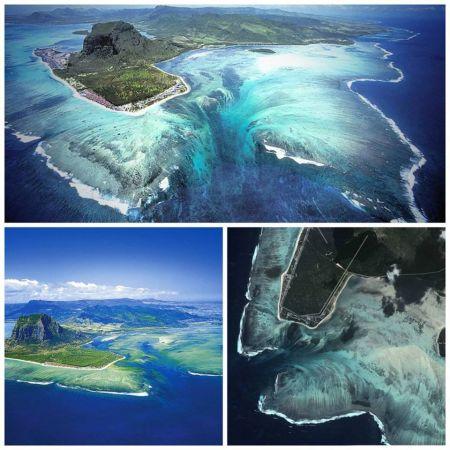 Islas Mauricio, Produce la ilusión óptica de una cascada Las islas Mauricio están a 2000 km al sureste de África. Produce una ilusión óptica de que la isla está en lo alto de una enorme cascada. En realidad no hay una diferencia de gran profundidad, pero las olas que se alejan están llevando la arena de colores claros al océano, produciendo la ilusión de caída.: