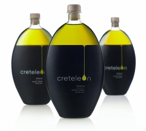 Creteleon of a pure, organic, virgin olive oil from the island of Crete, Greece, with one of the sleekest olive oil packaging designs.