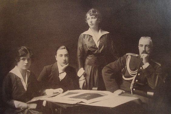 Grand Duke Michael Mikhailovich of Russia (on the right) with his children.