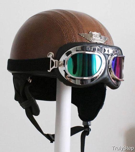 d tails sur top casque bol jet cuir marron de moto vespa biker et lunettes visi re s m l xl. Black Bedroom Furniture Sets. Home Design Ideas