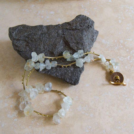 Chunky Rough Gemstone Necklace Semi Precious by ElektraJewelry, $156.00