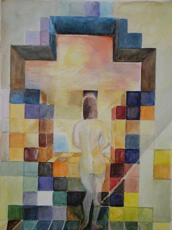 Inspirándome en Dalí Acuarela realizada por Conchi Moreno #retrato #acuarela