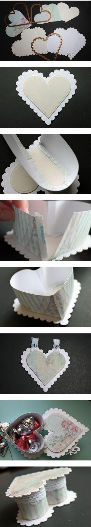 Como hacer una caja para chocolates con forma de corazon