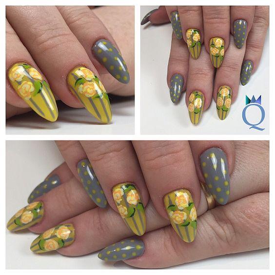 #almondnails #nails #gelnails #grey #yellow #handpainted #nailart #stripes #dots #roses #mandelform #nägel #gelnägel #grau #gelb #handgezeichnet #nagelkunst #streifen #punkte #rosen #nagelstudio #möhlin #nailqueen_janine