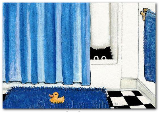 Pato de goma gato negro azul baño Art  lámina o por AmyLynBihrle