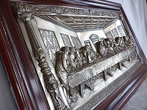 Large Metal Hi Relief The Last Supper Plaque Framed