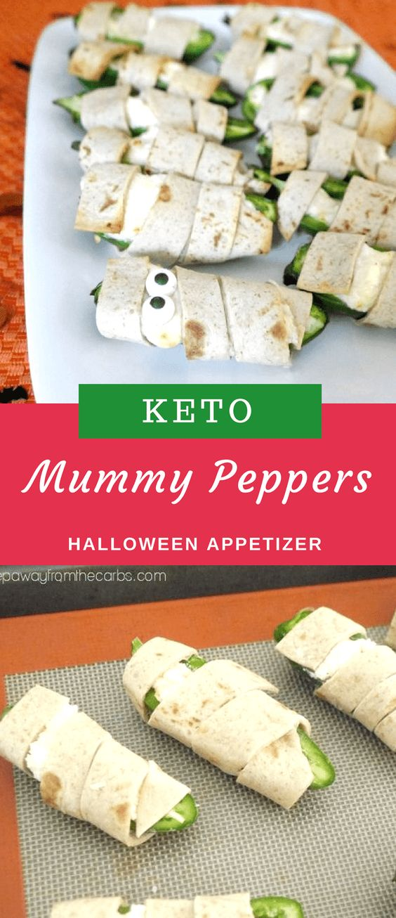 Mummy poppers - low carb & keto approved appetizer for halloween/low carb/low carb  snacks/keto treats/ keto halloween/keto treats for halloween/low carb dessert/ keto snacks/keto dessert for halloween/keto recipes for halloween/Easy keto recipes/keto chocolate/halloween food/creepy halloween food/spooky treats/halloween party food/halloween party ideas/