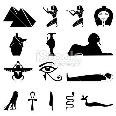 египетски символи на роялти |  Египет Символи Силуети Royalty Free На Грава Vector Illustration