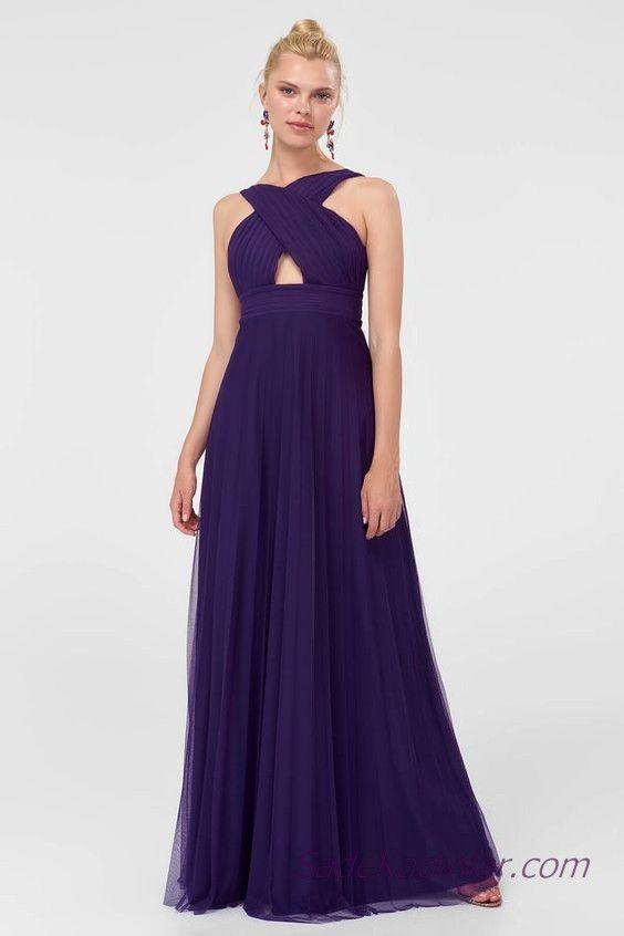 2019 Sifon Abiye Elbise Modelleri Mor Uzun Capraz Serit Yaka Kolsuz Elbise Modelleri Nedime Giysileri Elbise