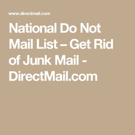 National Do Not Mail List – Get Rid of Junk Mail - DirectMail.com ...