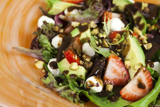 Strawberry and Avocado Salad with Basil-Balsamic Dressing