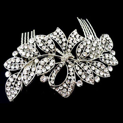Bridal Hair AccessoriesLarge Silver & Crystal Bow & Leaf Comb HC0099