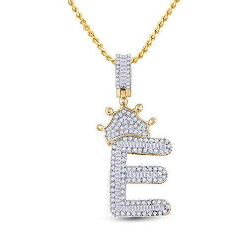10kt Yellow Gold Mens Baguette Diamond Crown E Letter Charm Pendant 3 4 Cttw Tiea Jewels In 2020 Initial Pendant Diamond Crown Letter Charms