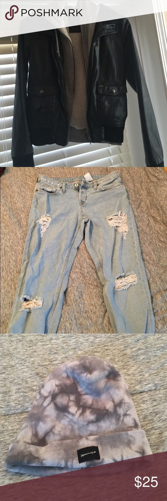 NEW BUNDLE! Obey pleather jacket, H&M boyfriend jeans, and Quiksilver acid wash beanie! Other