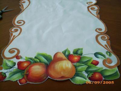 Camino de mesa con frutas mantel tela pinturas pintura - Como pintar sobre tela ...