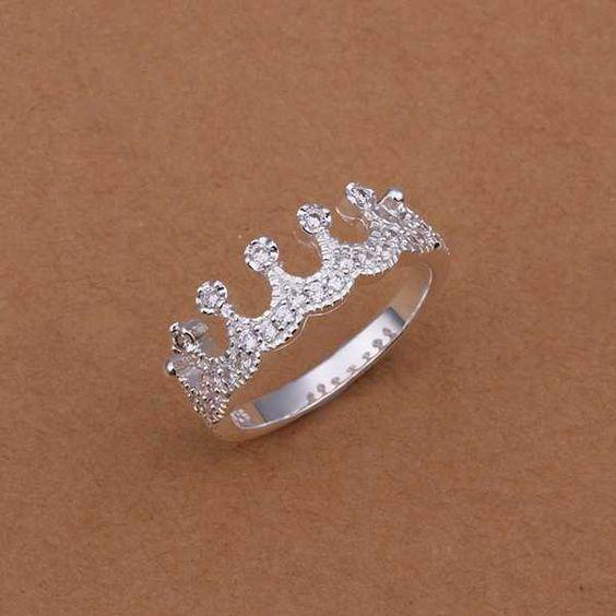 Venta caliente! Venta al por mayor de ley 925 anillo de plata, 925 de moda de plata anillo de la joyería, multi- con incrustaciones de piedra de la corona smtr254 anillos: