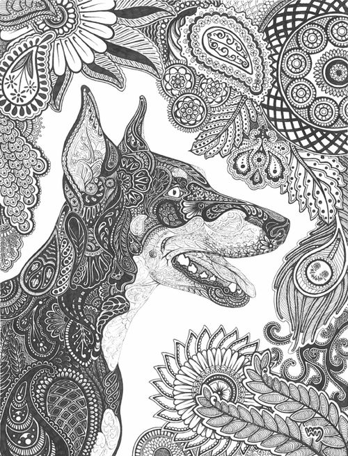 Zentangle dog adult colouring cats dogs zentangles for Doberman coloring pages