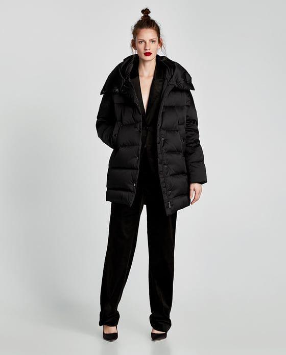 Zara Woman Down High Neck Puffer Coat Hooded Trench Coat Puffer Coat Zara Fashion 2017