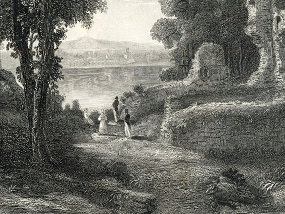 1868 Antique Engraving of Loch Maben and Castle, Dumfries and Galloway, Scotland $20