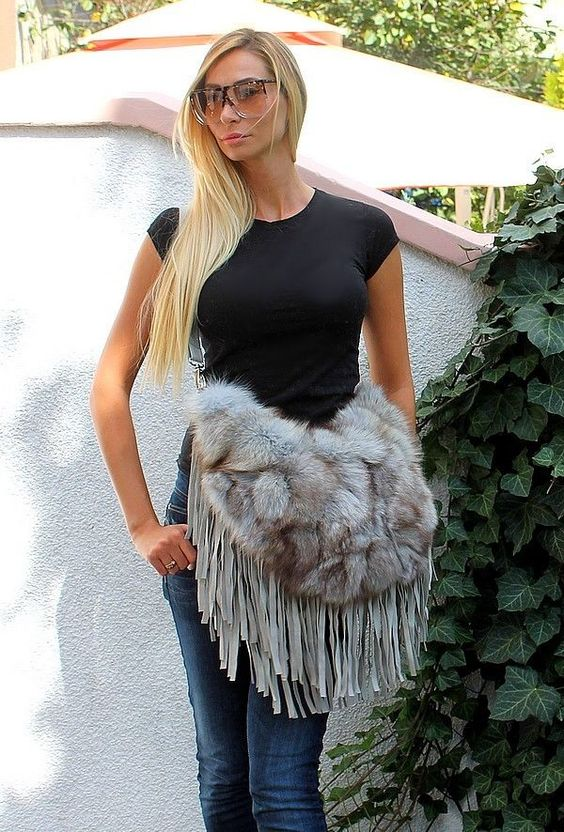 Luxus Pelz Tasche Damen Fuchs Fell fur bag fox | eBay