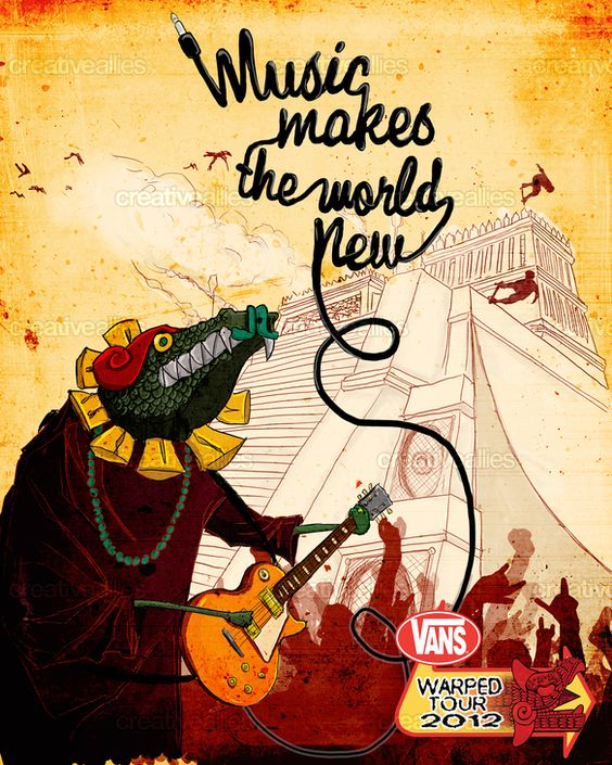 """Design by Guillermo Banuelos for the """"Music Makes the World New"""" themed poster contest for the 2012 Vans Warped Tour"""