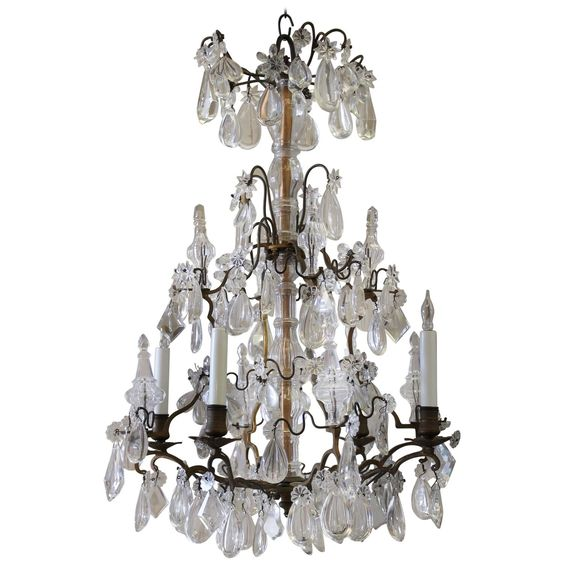 Antique French Bronze and Crystal Chandelier | From a unique collection of antique and modern chandeliers and pendants at https://www.1stdibs.com/furniture/lighting/chandeliers-pendant-lights/