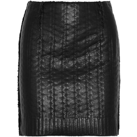 Lanvin Knit-effect leather mini skirt found on Polyvore