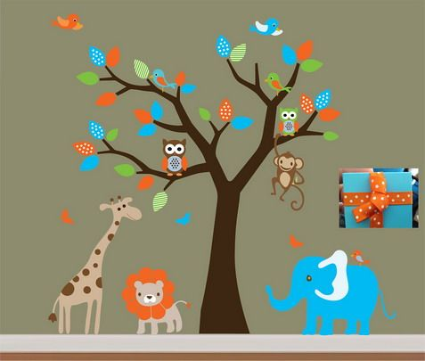 funny jungle animals cartoon in the rainforest decals for kids bedroom wall design easynip