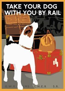 British Rail Poster-----they do!! right in the cars/carriages with them.  I met some amazing dogs (people too, lol). Bicycles are also brought on the trains.  wow.