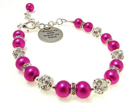 Sister Charm Bracelet, Dark Pink Pearl Bracelet, Sister Gift, Sister Jewelry, Rhinestone Charm Bracelet, Pearl charm Bracelet, by crystaljemscouk on Etsy