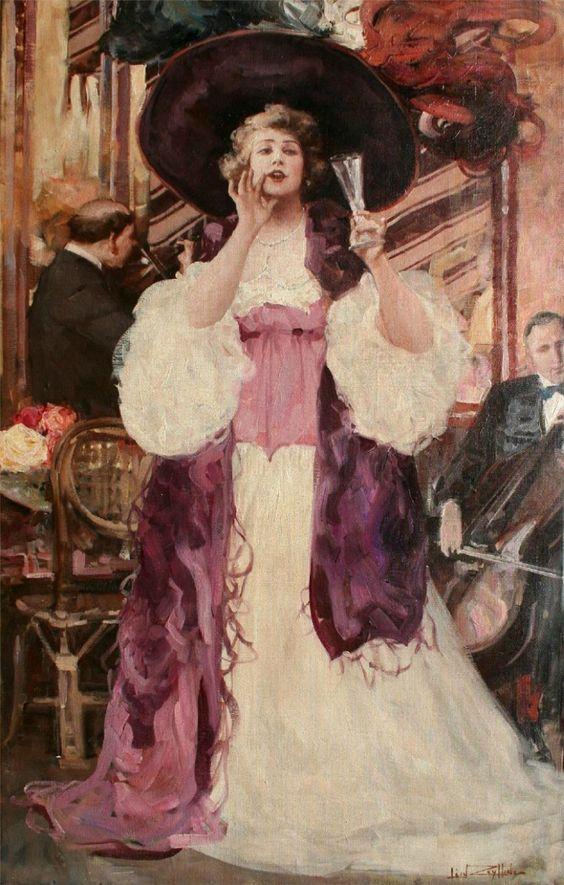 Leon Zeytline (French, 1885-1962) - Busy street scene: